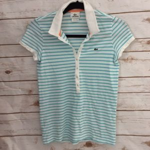 Lacoste Short Sleeved Aqua White Striped Polo SZ 6